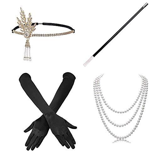 4 Piezas Juego de Accesorios Cabeza Vintage Guantes Largos de satén Collar de Perlas Soporte Largo para Mujer 1920s Charleston Gatsby Retro Disfraz (Negro)