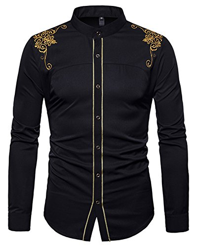 Whatlees Herren Gotik Hemd mit Golden aufgesticktes Design und Stehkragen - B964-black - L