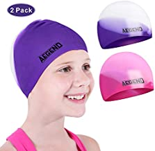 Aegend Youth Swim Cap (Age 5-10), 2 Pack, Pink & Purple