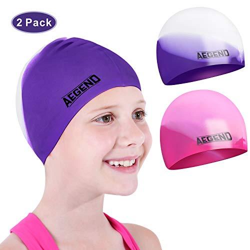 aegend Youth Swim Cap (Age 5-10), 2 Pack, Pink & Purple