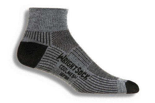 Wrightsock Coolmesh II Quarter Running Socks - 2 Pack, Grey, Small