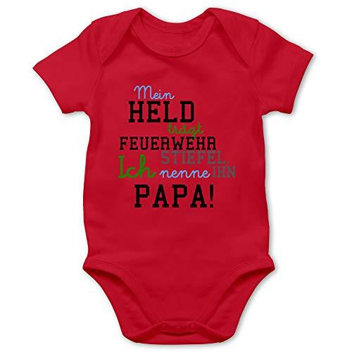 Feuerwehr Baby - Mein Held Papa Feuerwehr Junge - 6/12 Monate - Rot - Strampler für Babys Jungen - BZ10 - Baby Body Kurzarm für Jungen und Mädchen