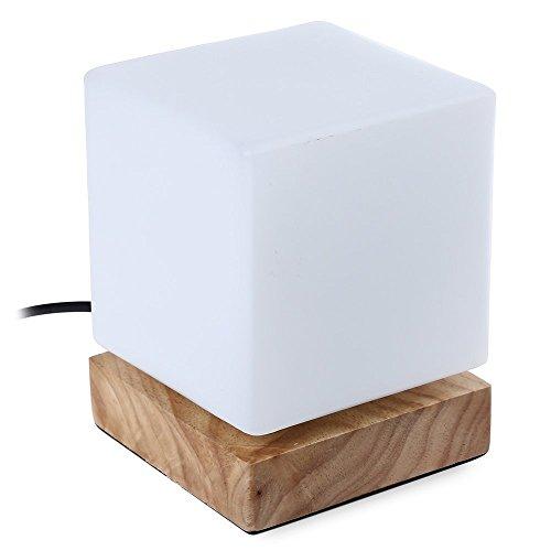 Injuicy Eclairage Moderne Led Carré Socle en Bois Lampes de Table Abat-Jour en Verre Edison Cube Lampe de Bureau Lampe à Poser pour Chevet Café Bar Salon Chambre Lampe de Nuit de