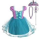 Lito Angels Vestido de Princesa Ariel con Accesorios para Niña Disfraz de Sirenita de Fiesta de Cumpleaños Halloween Carnaval Falda de Verano Talla 2-3 Años