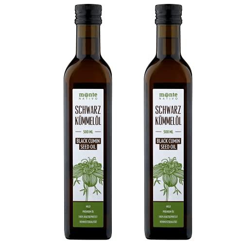 Schwarzkümmelöl MonteNativo (2x500ml) 1000ml Glasflasche - Milder Geschmack, Kaltgepresst, Rein und Naturbelassen, Nigella Sativa, 1 Liter, Kein Intensiver Geschmack, Black Cumin Oil