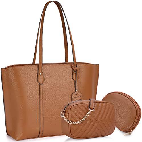 Bolso para Mujer Cuero PU Bolso de hombro Monedero 3Pcs Bolso Grande Bolso Señoras Shopper Totes para Escuela Compras ViajeOficina Marrón