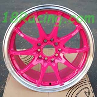 4 PCS ROTA FIGHTER 10 DPT WHEELS 16X7 PCD:5X100 AND 5X114.3 OFFSET:40 HB:73 PINK WITH POLISH LIP