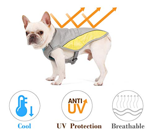 "Rantow Dog Cooling Vest Harness Outdoor Puppy Cooler Jacket Reflective Safety Sun-Proof Pet Hunting Coat, Best for Small Medium Large Dogs (L(Chest 22.8""-28.4""))"