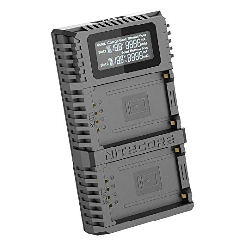 Nitecore FX2 PRO USB Ladegerät, Ladegerät für Fujifilm NP-T125 Akku, passend für Fuji GFX 50S, GFX 50R Kameras