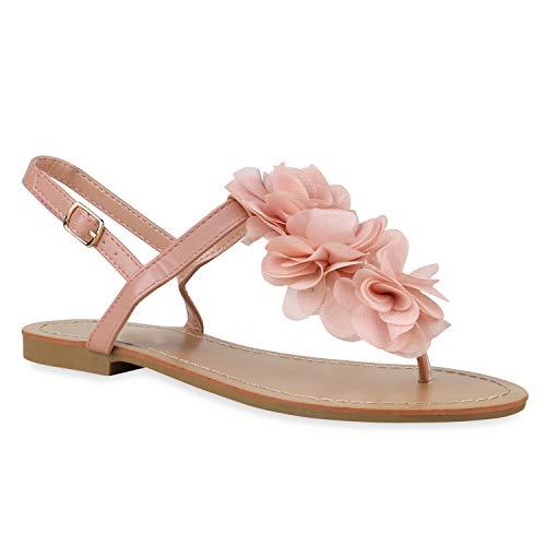 Damen Dianetten Blumen Sandalen Zehentrenner Sommer Flats Beach Zierperlen Schuhe 135354 Apricot 38 Flandell