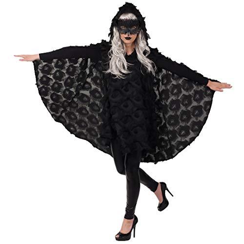 Amakando Místico Disfraz Capa Cuervo con cofia para Dama / Negro ES 40/42 (S/M) / Vestido con Capucha Capa pájaro Fiesta de Disfraces y Festival