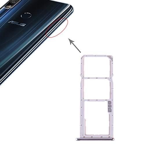 un known Reparación renovación por Teléfono Bandeja de Tarjeta SIM + Bandeja de Tarjeta SIM + Bandeja de Tarjeta Micro SD for Accesorio ASUS ZenFone MAX Pro (M2) ZB631KL (Color : Silver)