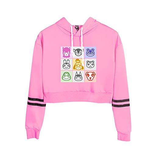 Frauen Teen Mädchen Anime Animal Crossing Bedruckte Hoodies, Lustige Langarm Pullover Sweatshirt Animal Crossing Exposed Nabel Hoodie