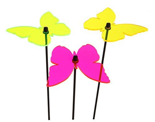 Time for Home Lichtfänger 3er Set Schmetterling oder Blume Sonnenfänger Gartenstecker Blumenstecker Lichterspiel pink gelb grün Beetstecker (Schmetterlinge)