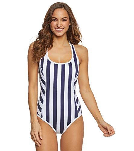 Tommy Bahama Womens Island Active Stripe Tank One-Piece Swimsuit Mare Navy Size 10