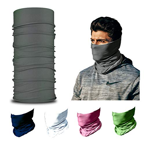 ARMORAY Face Mask Washable & Reusable Balaclava Neck Gaiter - Sun Protection Bandana Scarf Masks for Men & Women Hiking Fishing (Gray)