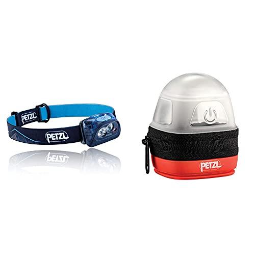 PETZL Actik Linterna Frontal, Unisex Adulto, Azul + -Noctilight, Negro/Naranja