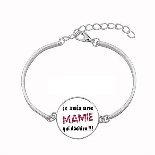 Pulsera de cristal YUANOMSL, fuente digital inglesa, pulsera de aleación de plata, pulsera de aleación de plata, hecha a mano, joyería de estilo europeo, regalo