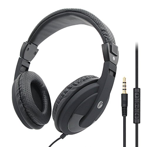VCOM Over Ear Headphones with Microphone, Lightweight Stereo Wired Headset, 5.9 Feet Cord & 3.5mm Jack for Smartphone Tablets Laptops Office School Classroom Online Chat Students Teens Adults (Black)