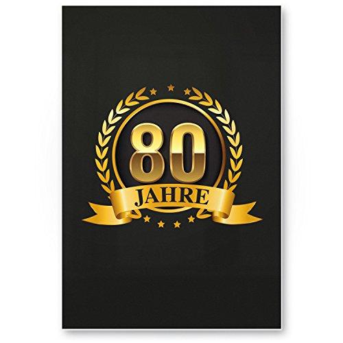 Bedankt! 80 jaar goud, plastic bord - cadeau 80. verjaardag, cadeau-idee verjaardagscadeau achtstigste, verjaardagsdeco/partydecoratie/feestaccessoires/verjaardagskaart