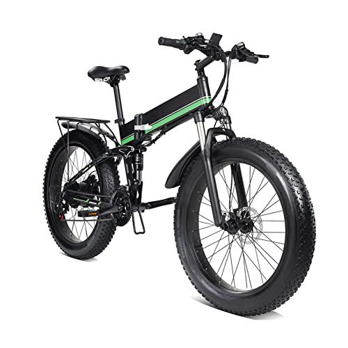 Bicicleta eléctrica de 1000 W, Motor de 48 V para hombres, bicicleta eléctrica plegable de aleación de aluminio, neumático grueso, bicicleta eléctrica para nieve MTB ( Color : Verde )