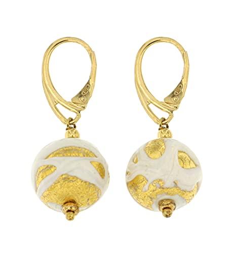 Venetiaurum - Orecchini per Donna Con Perle In Vetro Originale Di Murano E Argento 925 Placcato Oro - Gioiello Made In Italy Certificato