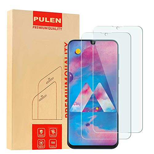[3-Pack] PULEN for Samsung Galaxy M30 Screen Protector,HD Bubble Free Anti-Fingerprints 9H Hardness Tempered Glass