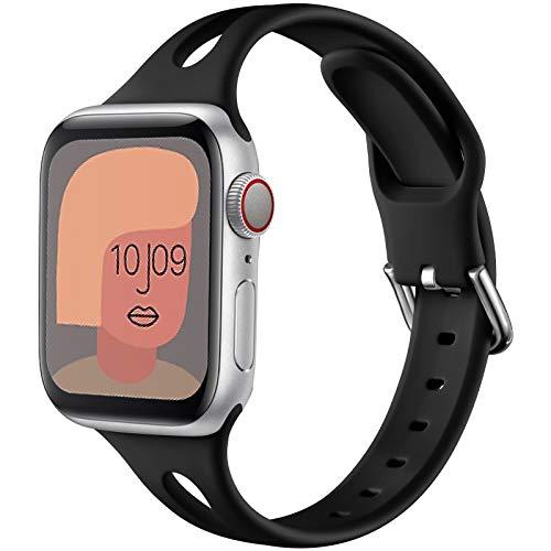 youmaofa Cinturino Compatibile con Apple Watch 42mm 44mm, Morbido Silicone Sport Speciale Triangle Hole Donne Uomo Sottile Ricambio Cinturino per Apple Watch Series SE/6/5/4/3/2/1, Nero