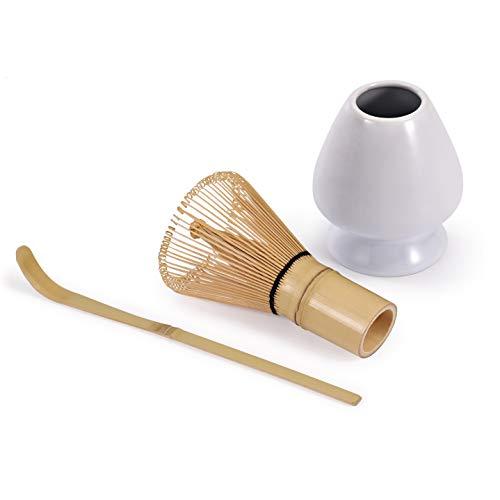 Urban Lifestyle, set di 3 (100 setole) con porta matcha bianco Chasen Naoshi e cucchiaio in bambù