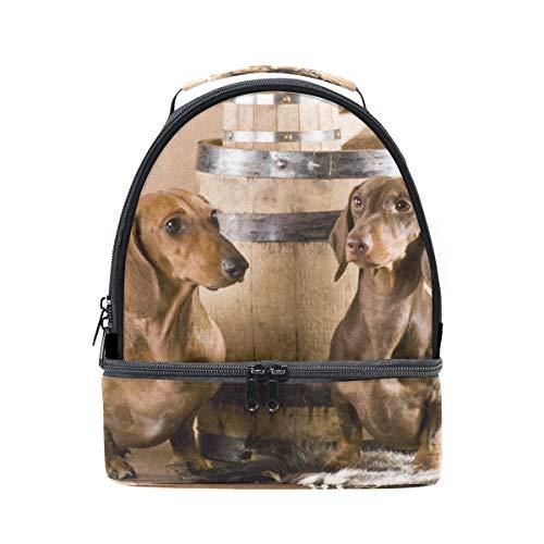 Schulter Double Lunch Bag Zwei Dackel mit Bier Kühler verstellbarer Gurt für Picknick