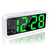 DTKID Reloj Despertador,Reloj Digital,Reloj Despertador Digital,Superficie de Espejo Grande, Pantalla de Fecha y Temperatura con función de repetición de Alarma,para el hogar,el Reloj del la Oficina