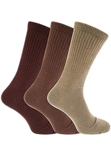 undercover lingerie 6 Pairs Mens Extra-Wide Cotton Rich Diabetic Socks Brown 6-11