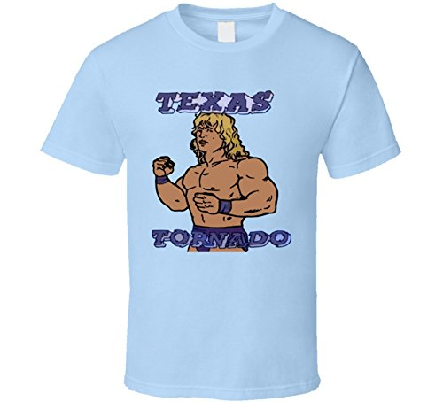 Texas Tornado Kerry Von Erich Retro Wrestling T Shirt L Light Blue