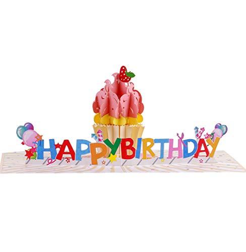 TRUANCE Pop-Up-Geburtstagskarte mit einzigartigem 3D-Cupcake-Motiv für Mutter, Tochter, Vater, Schwester und Freund, Geburtstagskarte für Ehefrau, Ehemann, Geburtstagskarte mit blanko Notiz