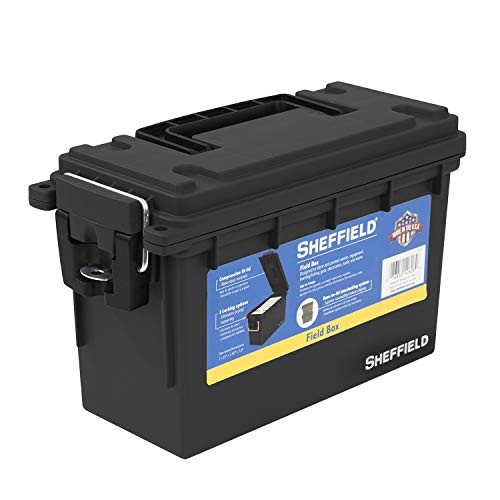 Sheffield 12629 Field Box   Great Pistol, Rifle, or Shotgun Ammo Storage Box (Black)   Safe and Tamper-Proof with 3 Locking Options   Stackable and Water Resistant   Made in The U.S.A.