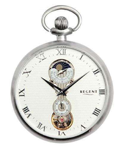 Reloj de bolsillo mecánico de carga manual con fases largas de bolsillo fabricado en Italia 100% con caja de madera con plata 925% soporte de Escritorio y cadena 19869