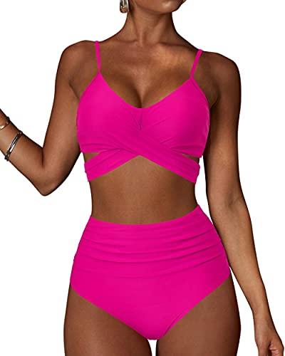 BRONG Costume da Bagno Donna Vita Alta Bikini Push Up 2 Pezzi Halter Criss Cross