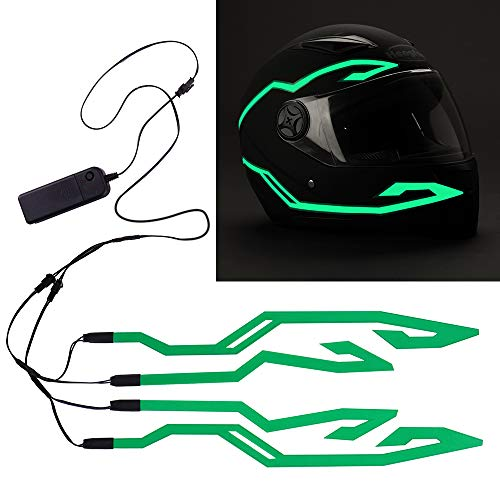4PCS Motorcycle LED Night Riding Signal Helmet EL Cold Light 4Mode Led Bike Helmet Light Strip decoration Kit Bar Accessories (Green)