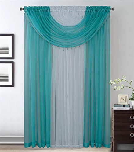 4 Panels With Attached Valances All-In-One Turquoise White Sheer Rod Pocket Curtain Panel 84 Inches Long With Crystal Beads - Window Curtains for Bedroom, Living Room or Dinning Room