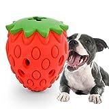 Beewarm Juguetes Resistentes para Perros para masticadores agresivos Fresa Indestructible Juguetes para Masticar Perros Juguetes interactivos para el aburrimiento Juguetes para Limpiar los Dientes