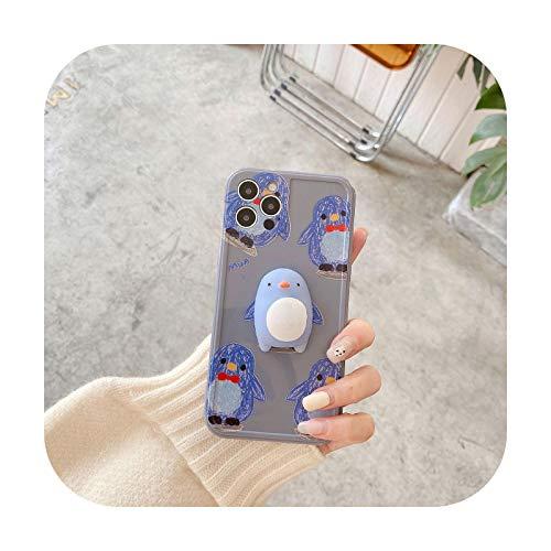 3D Cartoon Pinguin Silikon Weiche Handyhülle für iPhone 7 8 Plus 2020 SE X XR XS Max 11 11Pro Max 12 12Pro Max Pro Mini Case Blau für iPhone 11