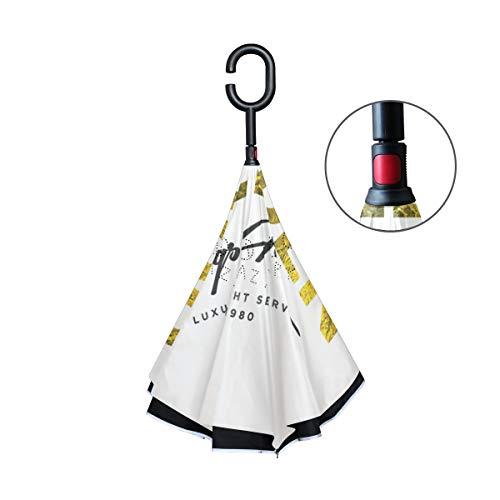 FANTAZIO dubbele laag omgedraaide paraplu's gouden vleugels logo omgekeerde vouwparaplu met C-vormige handvat voor auto's