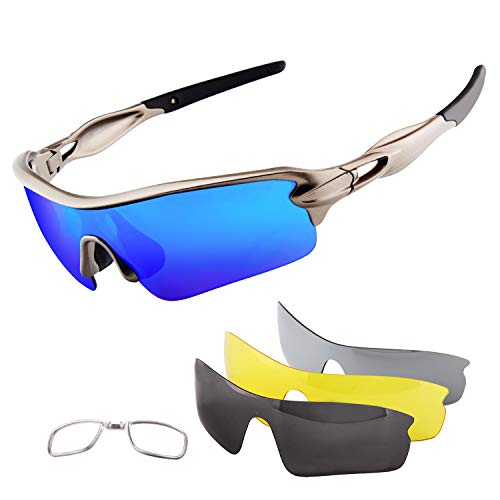 BangLong Polarized Sports Sunglasses, Cycling Sun Glasses for Men Women Anti-Fog UV400 with 4 Interchangeable Lenes FDA Approved for Running Drving Golf Upgrade