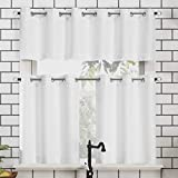 No. 918 Dylan Casual Textured Semi-Sheer Grommet Kitchen Curtain Valance and Tiers Set, 54' x 24' 3-Piece, White