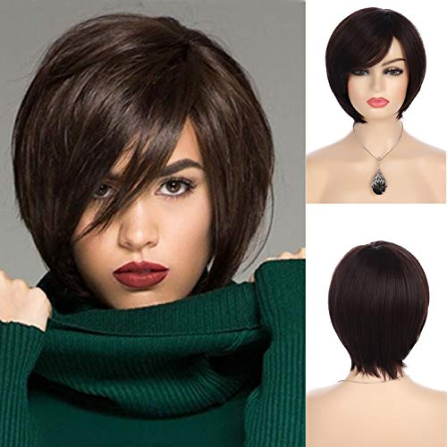 Baruisi Short Brown Bob Wigs for Women Synthetic Straight Side Bangs Costume Hair Wig for Party Daily Use