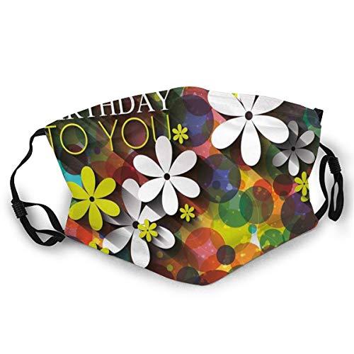 MundschutzWiederverwendbarerMundschutz im Freien,Vibrant Composition of Flowers Daisies Polka Dots Joyful Wish Feminine Design,NahtloseRänderAußenabdeckungen