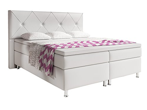 Inter Oxford Boxspringbett, 100% Polyurethan, Weiss, 180x200 cm