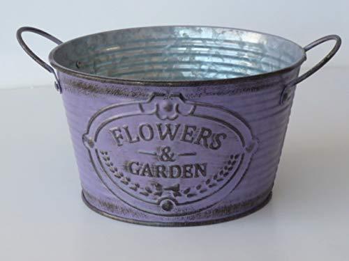 Flowers & Garden zink schaal paars, plantenbak groot, decoratieve schaal, bloemenschaal, vintage