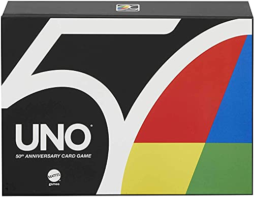 Mattel Games Juego de cartas UNO 50 aniversario, juego de mesa con acabado premium (Mattel GXJ94)