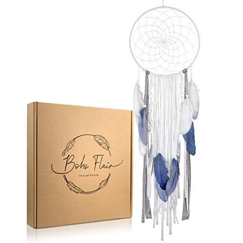 Boho Flair TRAUMFÄNGER, Wanddeko in Boho Stil XXL mit Federn und Perlen, Boho Traumfänger groß, Durchmesser 25cm, Länge 80 cm, Farbe Weiß/Grau